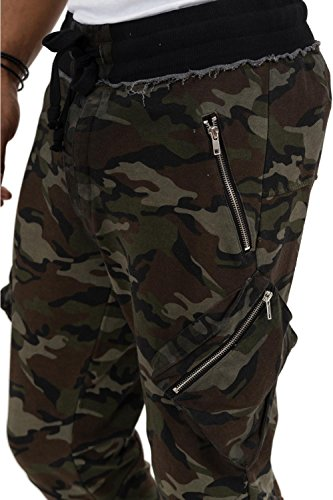 trueprodigy Casual Herren Marken Jogginghose mit Aufdruck, Sweathose cool und stylisch Vintage (Sportlich & Slim Fit), Chino Sweatpant für Männer bedruckt, Größe:L, Farben:Khaki