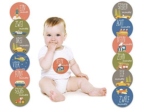 Baby Monatsaufkleber für das 1. Lebensjahr (Deutsch) - Verkehrsmotive
