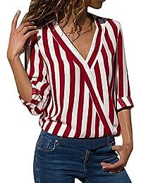 c42841bf15 Lover-Beauty Camisa Mujer Raya Cuello Redondo Manga Larga Casual Suelto  Blusa Rojo y Top