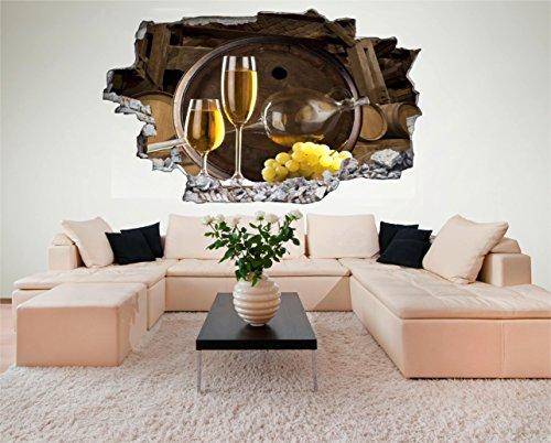 Wein-wand-dekor (Wein Trauben Weißwein 3D Look Wandtattoo 70 x 115 cm Wanddurchbruch Wandbild Sticker Aufkleber DesFoli © C481)