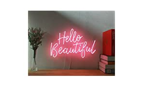 Hello Beautiful Real Glass Neon Sign For Bedroom Garage Bar Man Cave Room Home Decor Personalised Handmade Artwork Visual Art Dimmable Wall Lighting Includes Dimmer