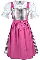 Mädchen Isar-Trachten Kinderdirndl mit Bluse grün-weiß-pink kariert 'Rosina', pink, 80