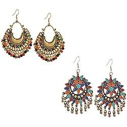 Tiaraz Fashion German Silver Beaded Chandbali Hook Earrings Jewellery for Women (Combo)