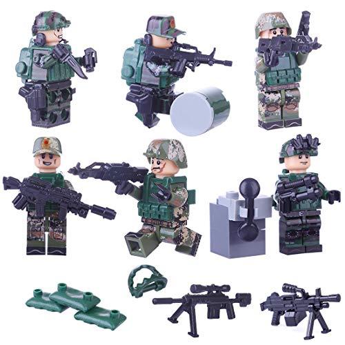 Spieland 6St. Mini Figuren Set SWAT Team Polizei Militär Soldaten Minifiguren Satz Bausteine für Kinder (Lego Minifigur Navy)