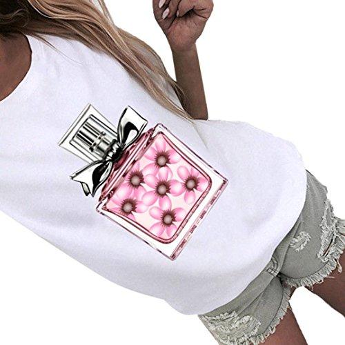 TIFIY Damen Sommermode Flasche Drucken Kurzarm Bluse Parfüm T-Shirt Bluse Tops (Weißen Schultern Vintage Parfüm)