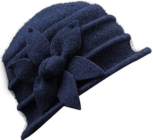 Ababalaya Damen 20s Gatsby Retro 100% Wolle Blumen Cloche Bucket Hut Beret Fischermütze Melone Wintermütze,Marine Blau (Cloche Bucket)