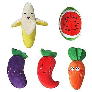 Fruits et légumes Chien couineur Jouets à mâcher pour Medium et chiens de petite taille (lot de 5)