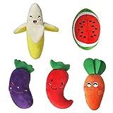 Kauspielzeug für Hunde in der Form von Obst und Gemüse für mittelgroße und kleine Hunde (Set von 5)