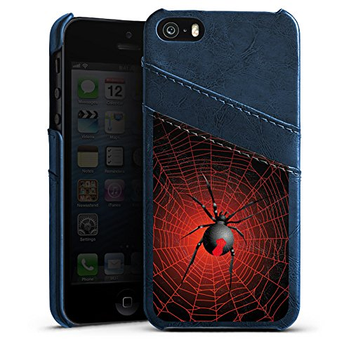 Apple iPhone 5s Housse Étui Protection Coque Araignée Réseau Veuve noire Étui en cuir bleu marine