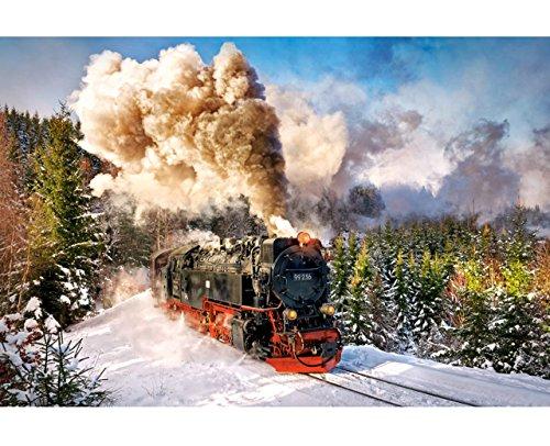 """Preisvergleich Produktbild Puzzle 1000 Teile - """" Dampflokomotive im Schnee """" - Eisenbahn Lok - Zug Lokomotive Dampflok Bahn Loks / Eisenbahnromantik - Winterwald - Winterlandschaft / Landschaft - Wälder - Weihnachten - Zugfahrt - Bahnreise / Zugreise - Züge"""