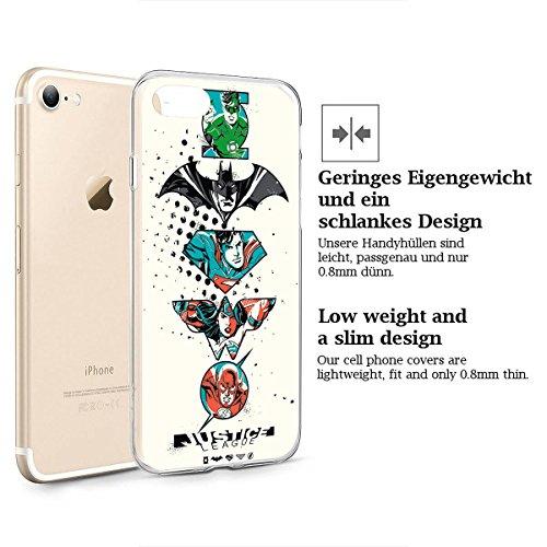 finoo | iPhone 8 Weiche flexible Silikon-Handy-Hülle | Transparente TPU Cover Schale mit Motiv | Tasche Case Etui mit Ultra Slim Rundum-schutz |Flash logo Justice league logo all 5