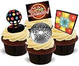 Disco Mix - 12 essbare hochwertige stehende Waffeln Karte Kuchen Toppers Dekorationen, Disco Mix - 12 Edible Stand Up Premium Wafer Card Cake Toppers Decorations