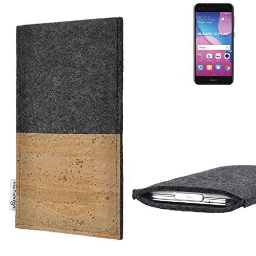 flat.design vegane Handy Hülle Evora für Huawei Y6 Pro 2017 Dual SIM Kartenfach Kork Schutz Tasche handgemacht fair vegan