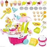Sweet Shop Cart Kitchen Cart Luxury Battery Operated With Music & LED Lights Ice Cream Trolley Shop Set For Kids Multi Color (43 PC)