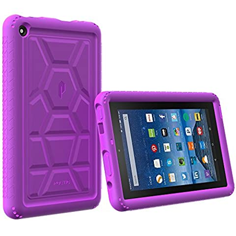 Fire 7 2015 Case - Poetic [Turtle Skin Series] - [Corner/Bumper Protection] [Tactile side Grip] [Sound-Amplification] [Bottom Air Vents] Protective Silicone Case for Amazon Fire 7 5th Gen (2015) Purple