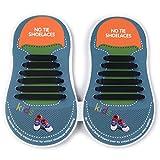 Elastisches Silikon Keine Krawatte Schnürsenkel für Kinder Schuhe (12 Stück) in Schwarz