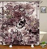 SLN Decorazione Personalizzata Un Cranio Umano Molti Fiori Fioriscono in Fioritura Farfalla Il Canestro del Fiore Ha Molti Fiori Tenda della Doccia Impermeabile Muffa Impermeabile