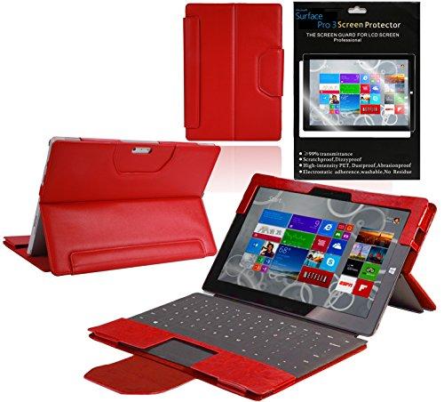 Navitech Oberfläche Serie Fall, Leder, Red Bundle, Microsoft Surface Pro 3 (3 Bundle Microsoft Surface Pro)