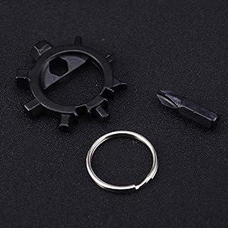 Werkzeug Reparieren Tragbare Outdoor-Schlüsselanhänger Schlüsselanhänger Schraubendreher Fahrrad Reparatur-Tools Anzug (Farbe : Schwarz)