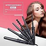 Arricciacapelli multifunzione 6-1,arriccaicapelli ceramica,ferro arricciacapelli kit-arricciacapelli professionale per i capelli secco/umido +guanto anti-calore