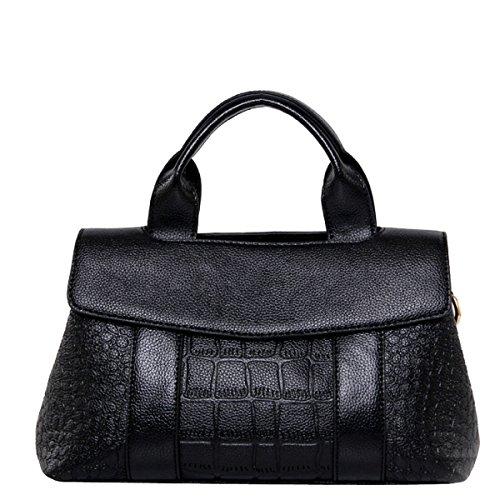 Art Und Weise Krokodil Drucken Top-Griff Umhängetasche Umhängetasche Handtasche Für Frauen Multicolor Black