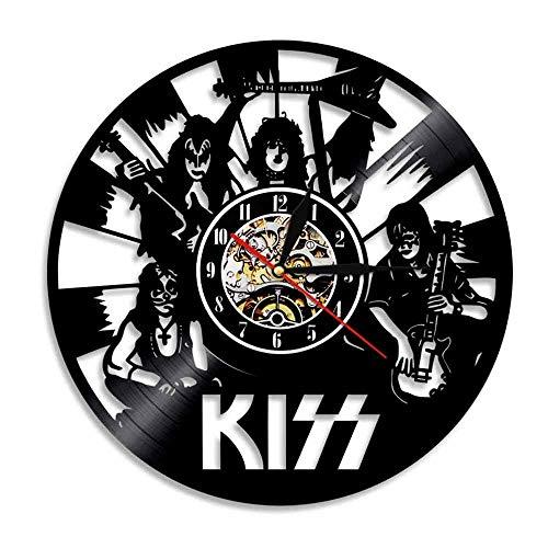 mebeaty Vinyl Schallplatte Wand Kiss Band Styling Runde Hohl Vinyl Material Dekoration Uhr, kreative Dekor dekorative Uhr Geschenk für Mann, Frau, Freund und Freundin, 12 '', 0184