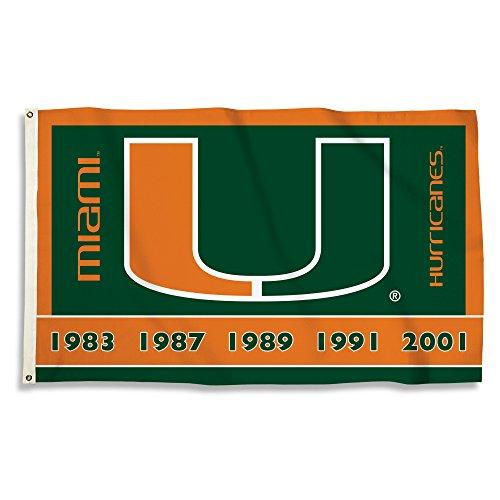 BSI NCAA Miami Hurricanes Unisex NCAA 3x 5Fuß Flagge mit Ösen, grün/orange, One Size - Miami Hurricanes 3x5 Flag