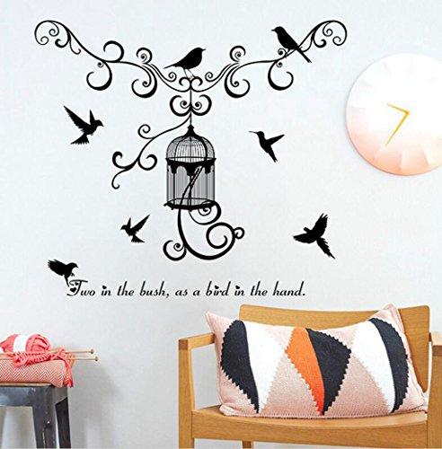 Madaye Vogelkäfig Schlafzimmer Eingang Wohnzimmer TV Hintergrund Dekoration PVC Wand-Aufkleber