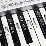 Piano and Keyboard Music Note Full Set Stickers for White and Black Keys with Piano Songs EBook & User Guide; Transparent and Removable! - For Easy Piano Lessons