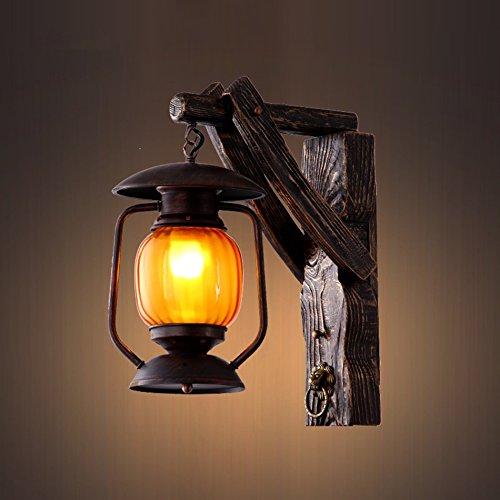 C&L Rétro Applique, Solide Bois Mur Lampe Personnalité Créative Chambre Bar Restaurant Café Club Mur Lampe E27 ( taille : 29*42cm )