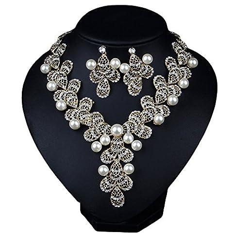 Girl Era élégant style vintage Y en filigrane Fleurs Collier de perles de boucles d'oreilles clair Soirée