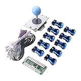 WINIT 1 Player LED Lights Arcade DIY Parts Kit 10 x LED Light Button + 5Pin 8 Way Joystick for USB MAME, Raspberry Pi, Raspberry Pi 2, Raspberry Pi 3 RetroPie Projects Color: Blue