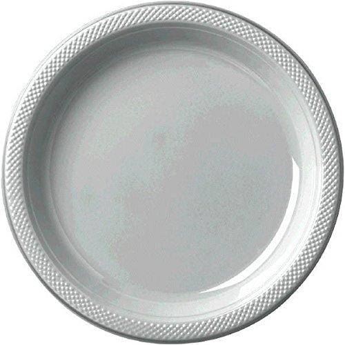 Amscan Teller aus Kunststoff, 18 cm, Glitzernd, silberfarben