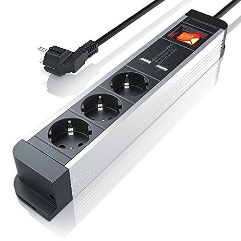 Arendo 3-fach Steckdosenleiste mit USB-Ladervorrichtung (2x USB-Ports)| bis zu 3680W | 230V AC 50Hz | USB 5V (2000mA) | Ein-/Ausschalter (beleuchtet) | für Wandmontage geeignet | integrierter Kinderschutz | IP20 | 1,5m | schwarz (matt) / silber (Alu-Gehäuse)