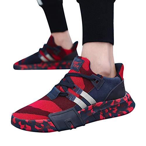 MOIKA Sportschuhe Laufschuhe Turnschuhe Männer Jungen Casual Sneakers Sport Laufen Atmungsaktive Flache Camouflage Schnürschuhe