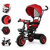 Fascol Triciclo per Bambini 6 in 1 Triciclo con Maniglione Regolabile e Parasole Apribile Passeggino Bimbo 18 Mesi - 5 Anni, Rosso