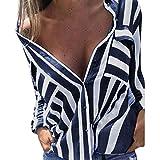 Sunnywill Damen Blusen V-Ausschnitt Streifen Langarmshirts Blusen Kariertes Hemd Oberteile (Navy, S)