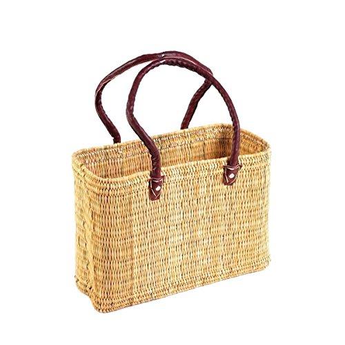 Seegras Tasche Korb Einkaufstasche Einkaufskorb Flechtkorb Korbtasche Palmgras langer Griff groß Color Natur (Leder-taschen Marokkanische)