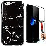 [Pack-2] Coque iPhone 7/iPhone 8 Marbre Noir + Vitre en Verre Trempé Protection d'écran, Housse Brillant Etui TPU Gel Antichoc Anti-Rayure Anti-Trace