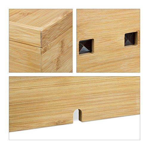 Relaxdays Caja de Cables Decorativa 16.5 x 25.5 x 14 cm Beige Bamb/ú