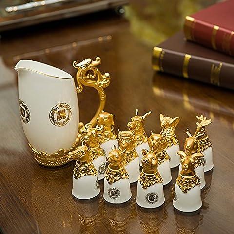 qwer Upscale di osso in lega di zinco placcato 24K dorare 12 animali del kit del vino così come doni ideali , 13° nel modello bianco. - 24k Miniatura