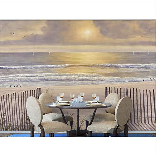 3d wallpaper für zimmer Sonneneinstrahlung weißen sandstrand holzzaun meerblick landschaftsmalerei foto 3d wallpaper