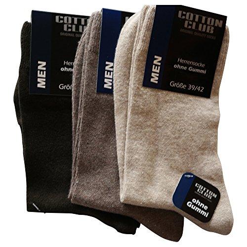 Cotton Club 6 Paar Herrensocke ohne gummi Gr. 39-42 ,43-46, 47-50, 51-54 (39-42, Braun-töne) (Socken Diabetiker-casual)