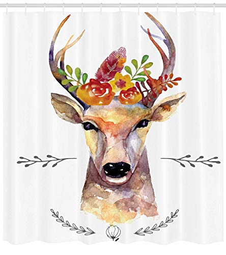 Mucuum Indie Shower Curtain Deer Portrait in Watercolor Painting Style Boho Flower Blumenstrauß Hipster Rustic Artwork Fabric Bathroom Decor Set mit Hooks White Orange