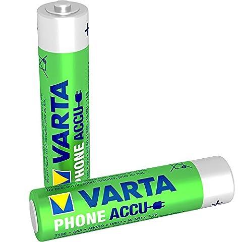 Varta - Lot de 2 Piles pour Téléphone Accu AAA Ni-Mh (800 mAh)