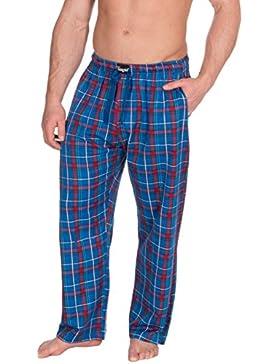 Insignia Hombre de Cuadros Pantalones de Andar por casa Pantalones Pijama Pantalones Sarga De Algodón