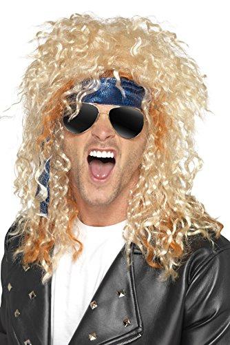 Smiffys, Herren Heavy Metal Rocker Set, Perücke, Sonnenbrille und Kopftuch, One Size, Blond und Blau, (Rocker Perücke In Heavy Blond Metal)