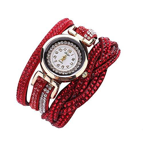 HEATLE Uhr Ansehen 1PC Gute Qualität Für Duoya-markenuhren Damen Kristallfrauen Goldarmband Quarz Armbanduhr Strassuhr Damen Kleid Geschenk Uhren (1PC, rot)