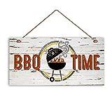 BBQ Time Zeichen, Verwitterte Holz, wetterfest, 5& quot X 10& quot Schild, Retro Sommer Party Zeichen, Geschenk für Dad, BBQ Grill, BBQ Truck Holz Schild.