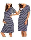 Unibelle Damen Umstandskleid Schwangerschaft Kleid Gerafften Stillkleid Diskretes Stillen Stretchkleid, Navyblau, XL